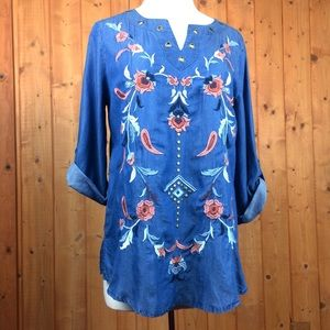 Multiples Embroidered Floral 3/4 Sleeve Tunic M